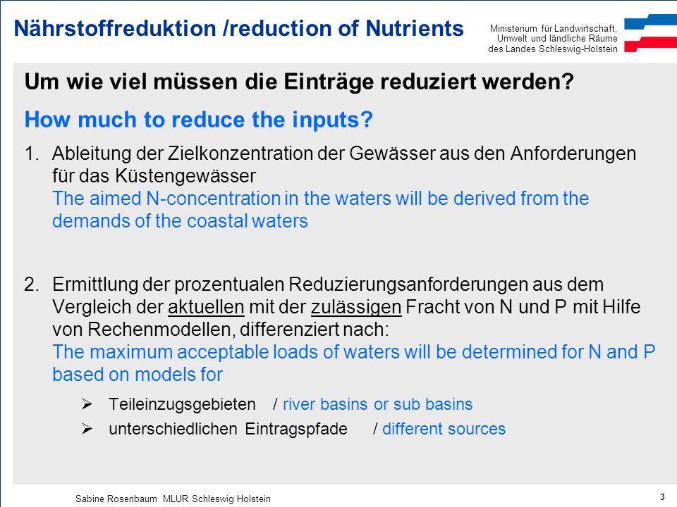 Ministerium für Landwirtschaft, Umwelt und ländliche Räume des Landes Schleswig-Holstein Sabine Rosenbaum MLUR Schleswig Holstein 3 Um wie viel müssen die Einträge reduziert werden.