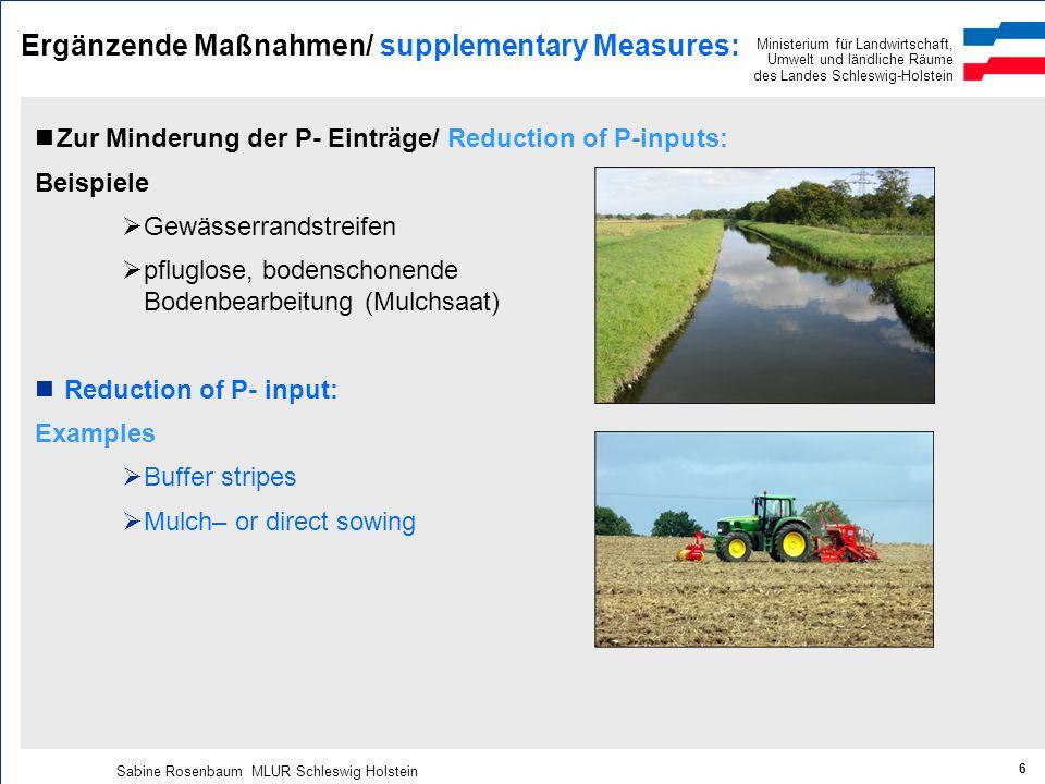 Ministerium für Landwirtschaft, Umwelt und ländliche Räume des Landes Schleswig-Holstein Sabine Rosenbaum MLUR Schleswig Holstein 6 Ergänzende Maßnahm