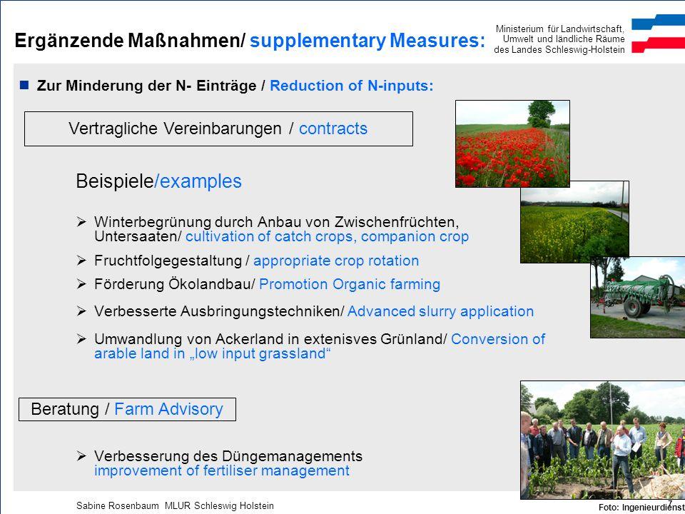 Ministerium für Landwirtschaft, Umwelt und ländliche Räume des Landes Schleswig-Holstein Sabine Rosenbaum MLUR Schleswig Holstein 7 Ergänzende Maßnahm