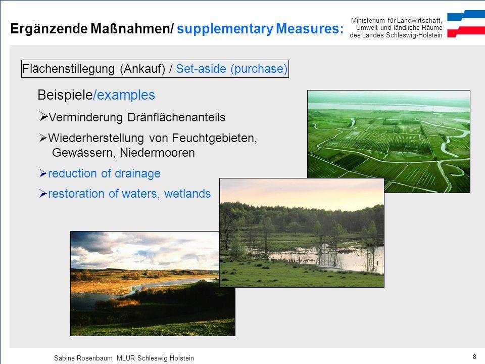 Ministerium für Landwirtschaft, Umwelt und ländliche Räume des Landes Schleswig-Holstein Sabine Rosenbaum MLUR Schleswig Holstein 8 Ergänzende Maßnahm