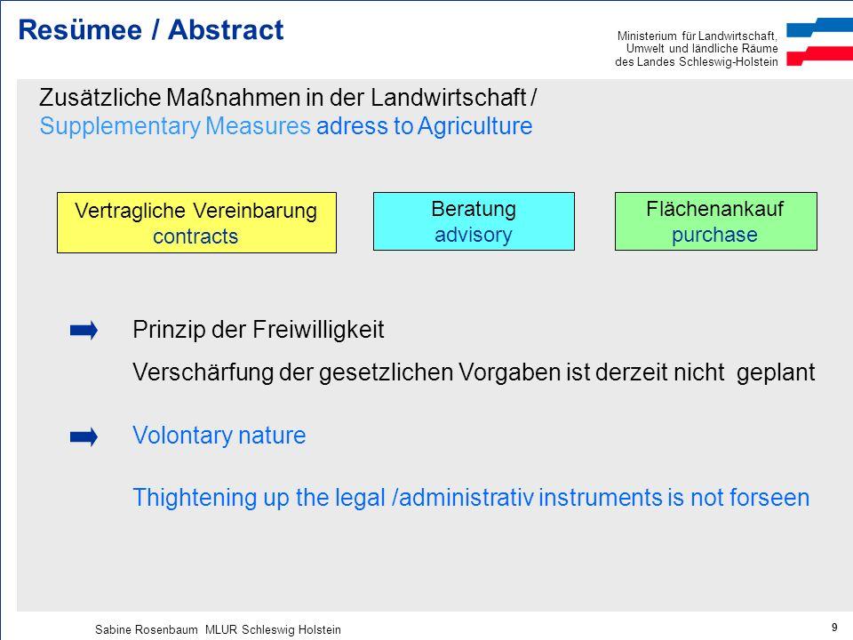 Ministerium für Landwirtschaft, Umwelt und ländliche Räume des Landes Schleswig-Holstein Sabine Rosenbaum MLUR Schleswig Holstein 9 Resümee / Abstract