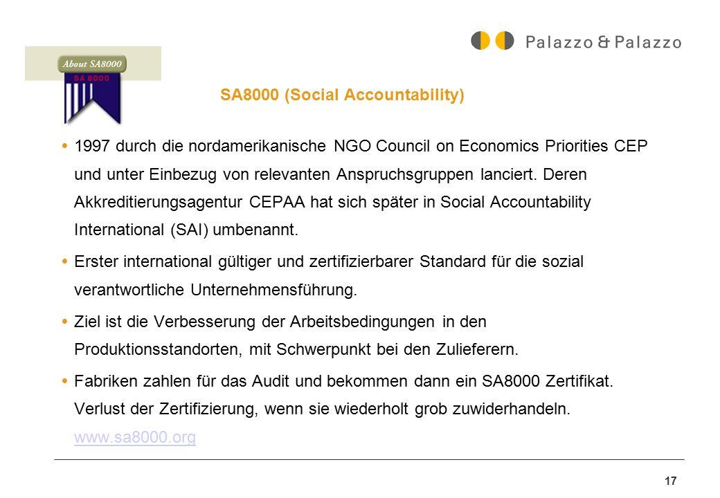 17 SA8000 (Social Accountability)  1997 durch die nordamerikanische NGO Council on Economics Priorities CEP und unter Einbezug von relevanten Anspruc