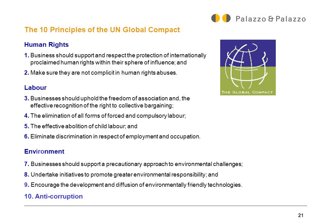 21 The 10 Principles of the UN Global Compact Human Rights 1.Business should support and respect the protection of internationally proclaimed human ri