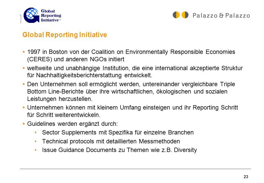 23 Global Reporting Initiative  1997 in Boston von der Coalition on Environmentally Responsible Economies (CERES) und anderen NGOs initiert  weltwei