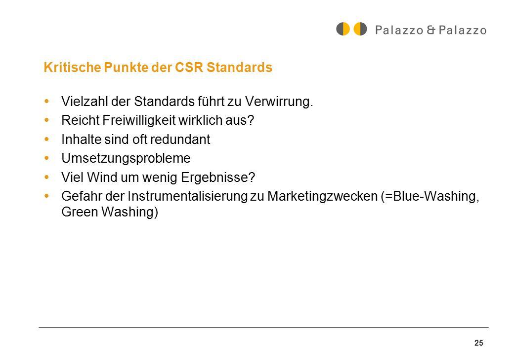25 Kritische Punkte der CSR Standards  Vielzahl der Standards führt zu Verwirrung.  Reicht Freiwilligkeit wirklich aus?  Inhalte sind oft redundant