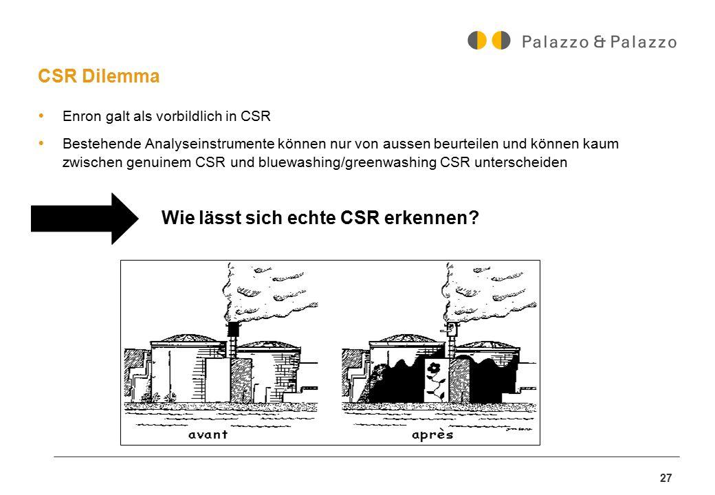 27 CSR Dilemma  Enron galt als vorbildlich in CSR  Bestehende Analyseinstrumente können nur von aussen beurteilen und können kaum zwischen genuinem