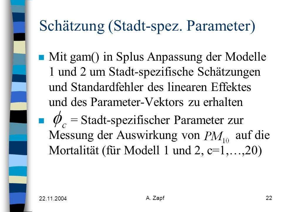 22.11.2004 A. Zapf22 Schätzung (Stadt-spez.