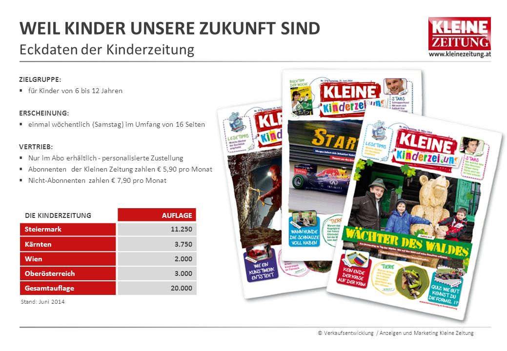 © Verkaufsentwicklung / Anzeigen und Marketing Kleine Zeitung WEIL KINDER UNSERE ZUKUNFT SIND Eckdaten der Kinderzeitung ZIELGRUPPE:  für Kinder von