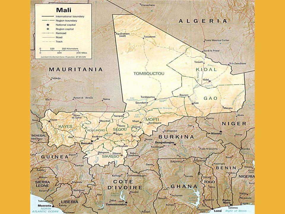 Klima: November – Februar: warm und trocken März – Mai: heiß und trocken Juni – Oktober: feuchtwarme Regenzeit Zeitunterschied zur MEZ: - 1 Stunde Wichtige Ethnien: Bambara, Malinke, Peul (Fulbe), Sonrhai, Sarakollé, Tuareg, Bobo, Dogon, Senufo, Bozo, Maurisch- Arabisch Religionen: Islam 75%, Christentum 1%, Animisten (große Mehrheit) Krankheiten: tropisches Fieber, Malaria, HIV/AIDS HIV Infizierte: 140.000 HIV Tode: 12.000 Daten und Fakten