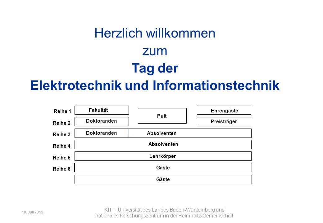 Fakultät für Elektrotechnik und Informationstechnik 1 Herzlich willkommen zum Tag der Elektrotechnik und Informationstechnik KIT – Universität des Landes Baden-Württemberg und nationales Forschungszentrum in der Helmholtz-Gemeinschaft 10.