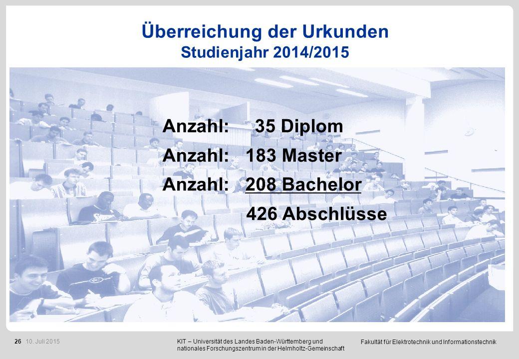 Fakultät für Elektrotechnik und Informationstechnik 26 Überreichung der Urkunden Studienjahr 2014/2015.. Anzahl: 35 Diplom Anzahl: 183 Master Anzahl: