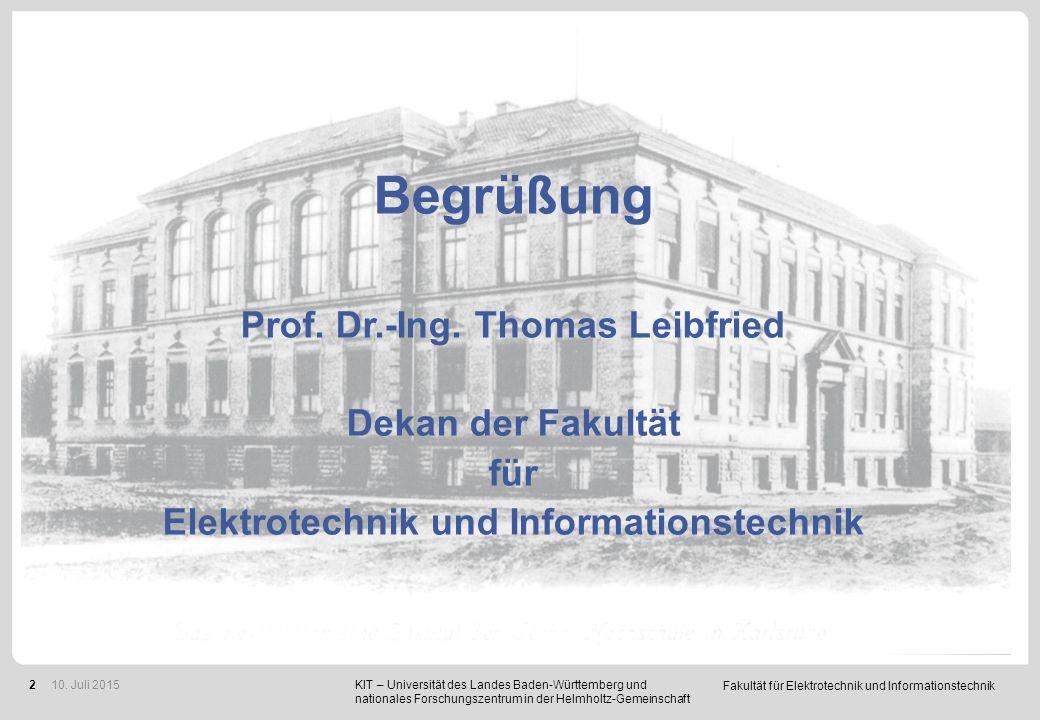 """Fakultät für Elektrotechnik und Informationstechnik 2 Bitte schalten Sie Ihre Mobiltelefone jetzt auf """"stumm"""". KIT – Universität des Landes Baden-Würt"""