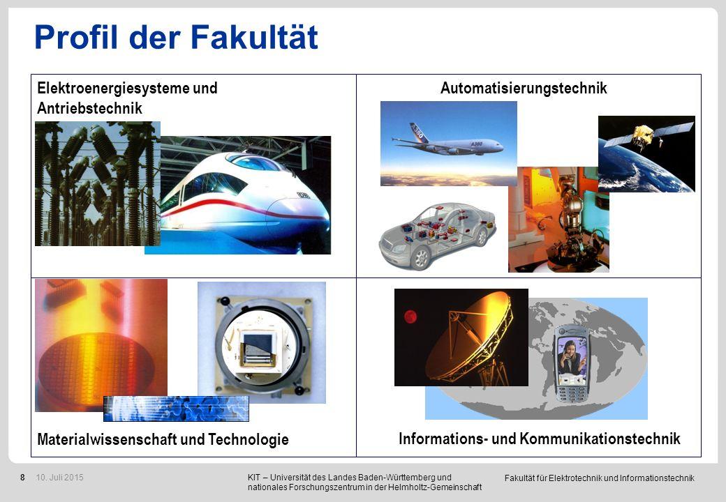 Fakultät für Elektrotechnik und Informationstechnik 8 Profil der Fakultät Automatisierungstechnik Informations- und Kommunikationstechnik Materialwiss