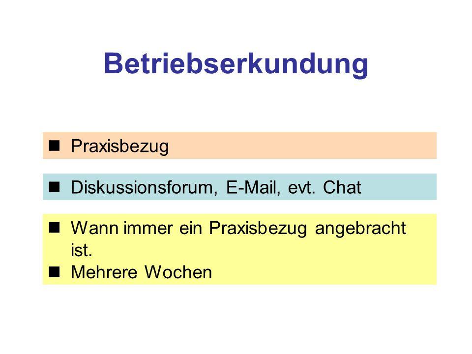 Betriebserkundung Praxisbezug Diskussionsforum, E-Mail, evt.