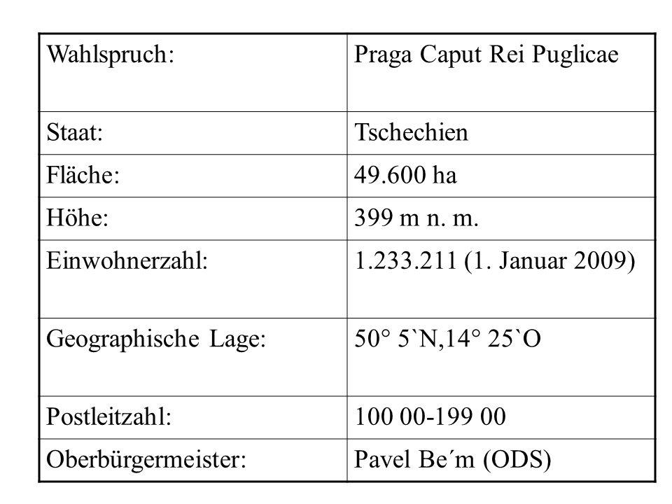 Wahlspruch:Praga Caput Rei Puglicae Staat:Tschechien Fläche:49.600 ha Höhe:399 m n. m. Einwohnerzahl:1.233.211 (1. Januar 2009) Geographische Lage:50°
