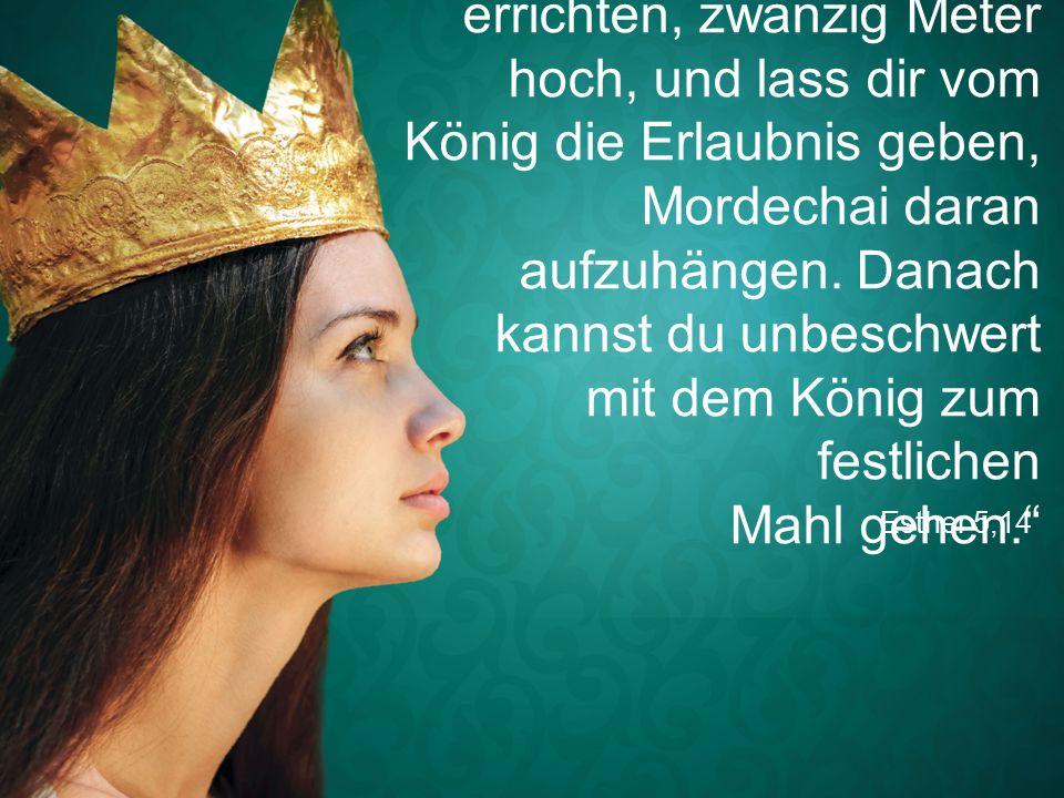 """Esther 5,14 """"Lass einen Galgen errichten, zwanzig Meter hoch, und lass dir vom König die Erlaubnis geben, Mordechai daran aufzuhängen."""