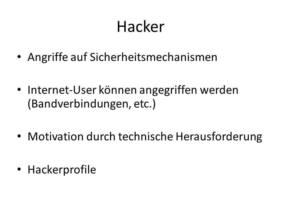 Hacker Angriffe auf Sicherheitsmechanismen Internet-User können angegriffen werden (Bandverbindungen, etc.) Motivation durch technische Herausforderun