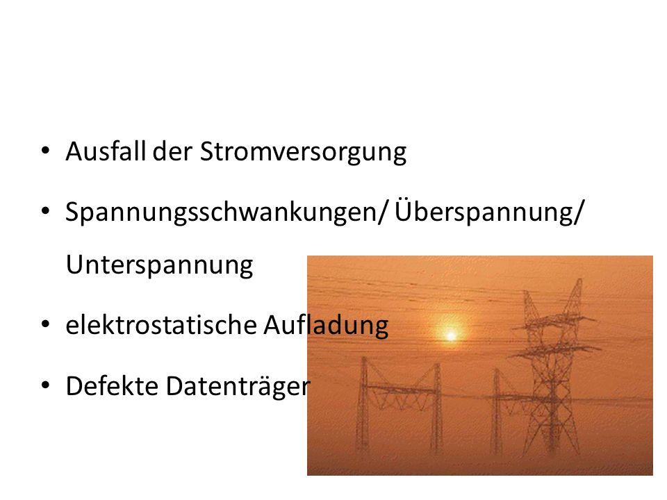 Ausfall der Stromversorgung Spannungsschwankungen/ Überspannung/ Unterspannung elektrostatische Aufladung Defekte Datenträger