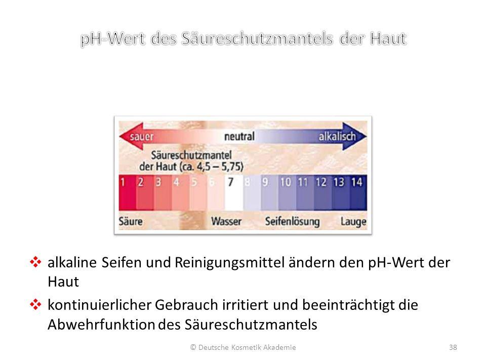 ❖ alkaline Seifen und Reinigungsmittel ändern den pH-Wert der Haut ❖ kontinuierlicher Gebrauch irritiert und beeinträchtigt die Abwehrfunktion des Säu