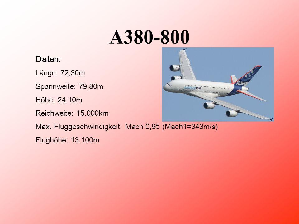 A380-800 Daten: Länge: 72,30m Spannweite: 79,80m Höhe: 24,10m Reichweite: 15.000km Max.
