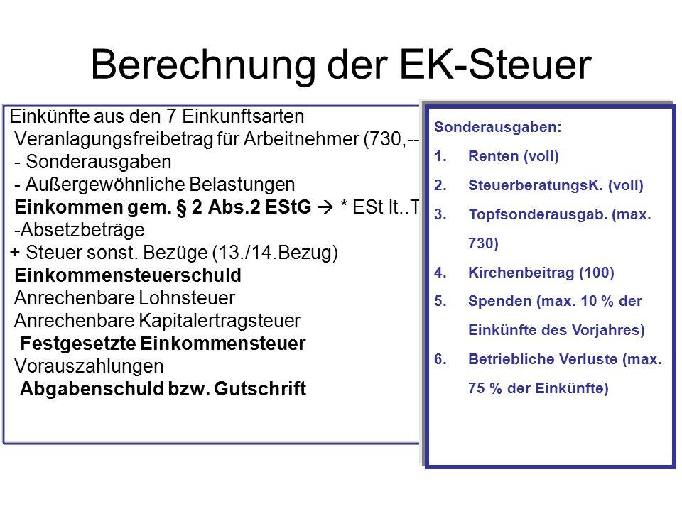 Berechnung der EK-Steuer Einkünfte aus den 7 Einkunftsarten Veranlagungsfreibetrag für Arbeitnehmer (730,--) - Sonderausgaben - Außergewöhnliche Belas