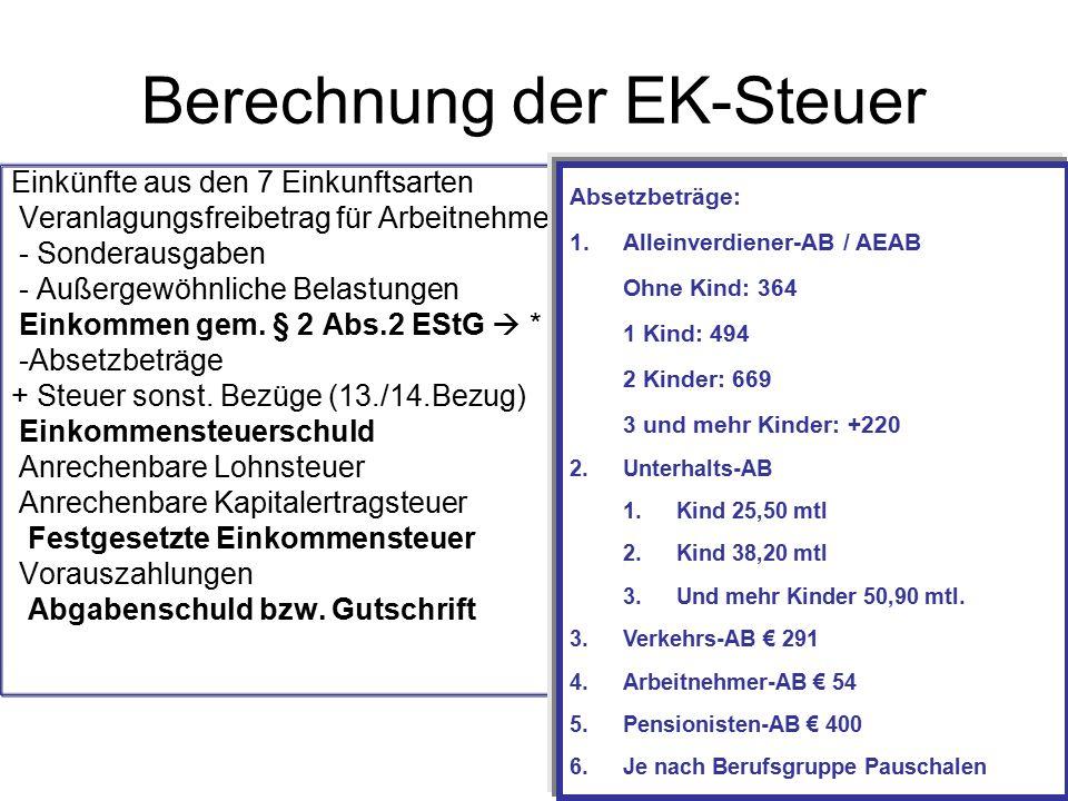 Berechnung der EK-Steuer Einkünfte aus den 7 Einkunftsarten Veranlagungsfreibetrag für Arbeitnehmer (730,--) - Sonderausgaben - Außergewöhnliche Belastungen Einkommen gem.