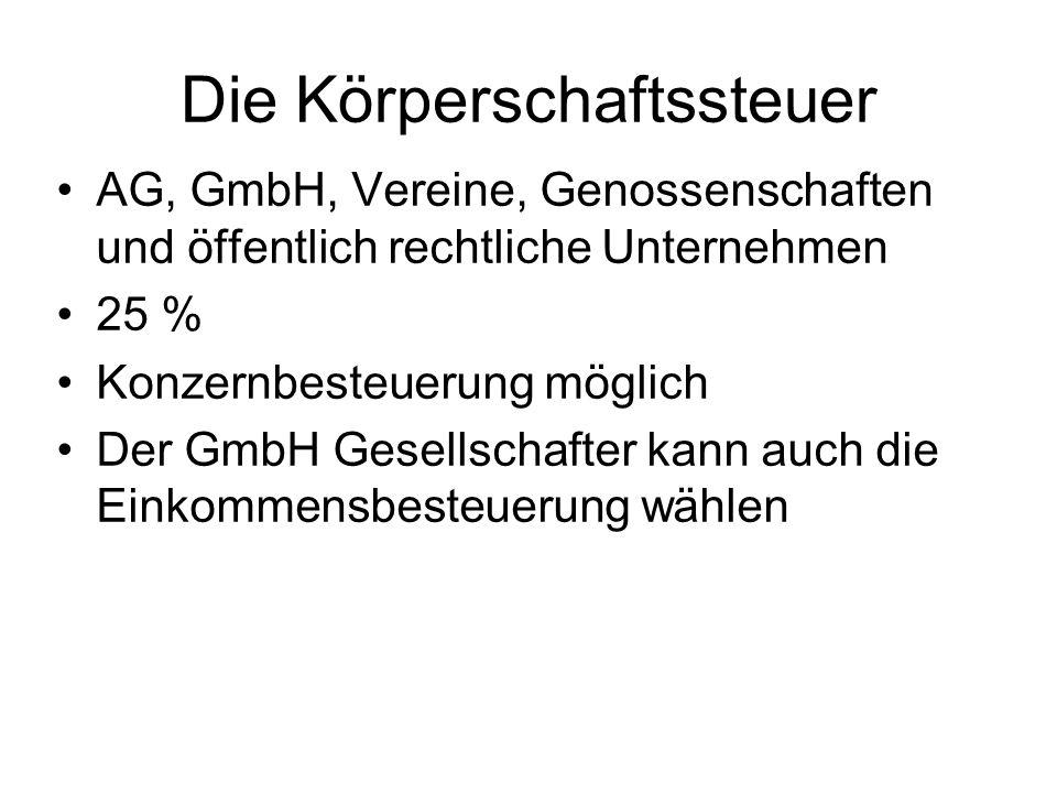 Die Körperschaftssteuer AG, GmbH, Vereine, Genossenschaften und öffentlich rechtliche Unternehmen 25 % Konzernbesteuerung möglich Der GmbH Gesellschaf