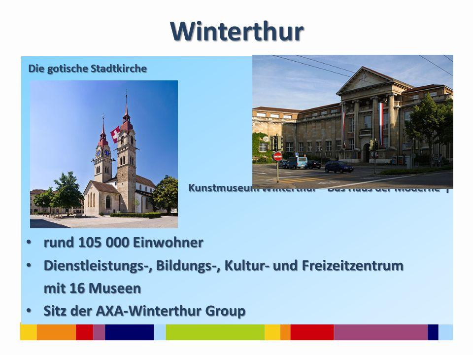Winterthur Die gotische Stadtkirche Die gotische Stadtkirche Kunstmuseum Winterthur – Das Haus der Moderne ↑ Kunstmuseum Winterthur – Das Haus der Moderne ↑ rund 105 000 Einwohner rund 105 000 Einwohner Dienstleistungs-, Bildungs-, Kultur- und Freizeitzentrum Dienstleistungs-, Bildungs-, Kultur- und Freizeitzentrum mit 16 Museen mit 16 Museen Sitz der AXA-Winterthur Group Sitz der AXA-Winterthur Group