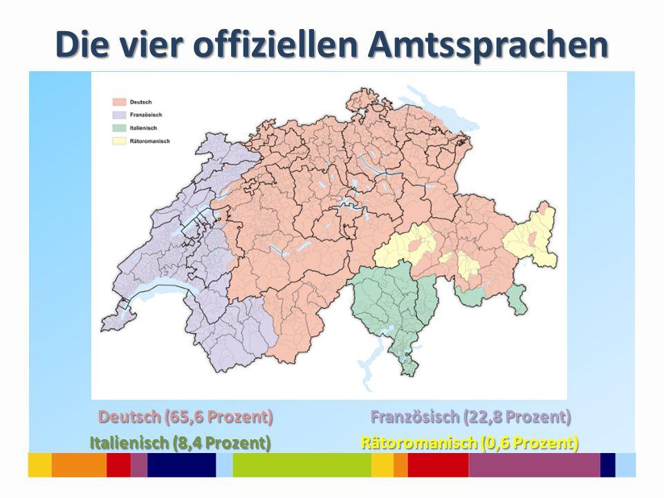 Die vier offiziellen Amtssprachen Deutsch (65,6 Prozent) Französisch (22,8 Prozent) Deutsch (65,6 Prozent) Französisch (22,8 Prozent) Italienisch (8,4 Prozent) Rätoromanisch (0,6 Prozent) Italienisch (8,4 Prozent) Rätoromanisch (0,6 Prozent)
