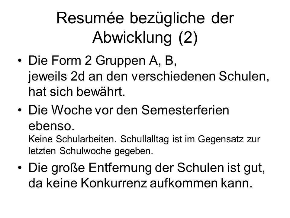 Resumée bezügliche der Abwicklung (2) Die Form 2 Gruppen A, B, jeweils 2d an den verschiedenen Schulen, hat sich bewährt.