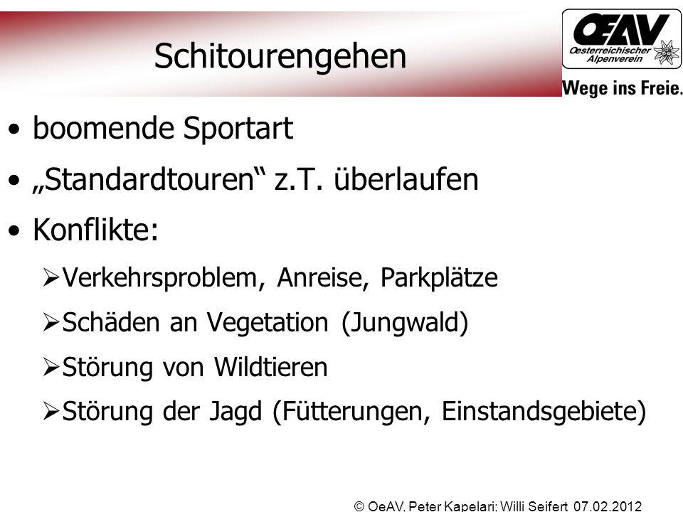 "© OeAV, Peter Kapelari; Willi Seifert 07.02.2012 Schitourengehen boomende Sportart ""Standardtouren"" z.T. überlaufen Konflikte:  Verkehrsproblem, Anre"