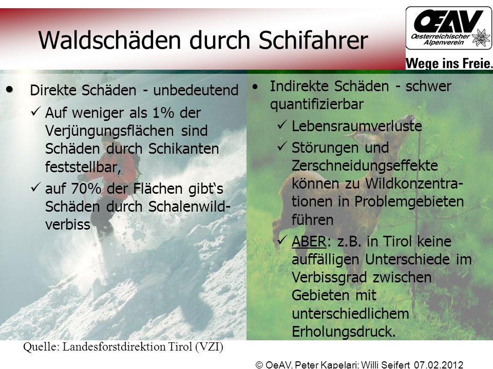 © OeAV, Peter Kapelari; Willi Seifert 07.02.2012 Waldschäden durch Schifahrer Indirekte Schäden - schwer quantifizierbar Lebensraumverluste Störungen