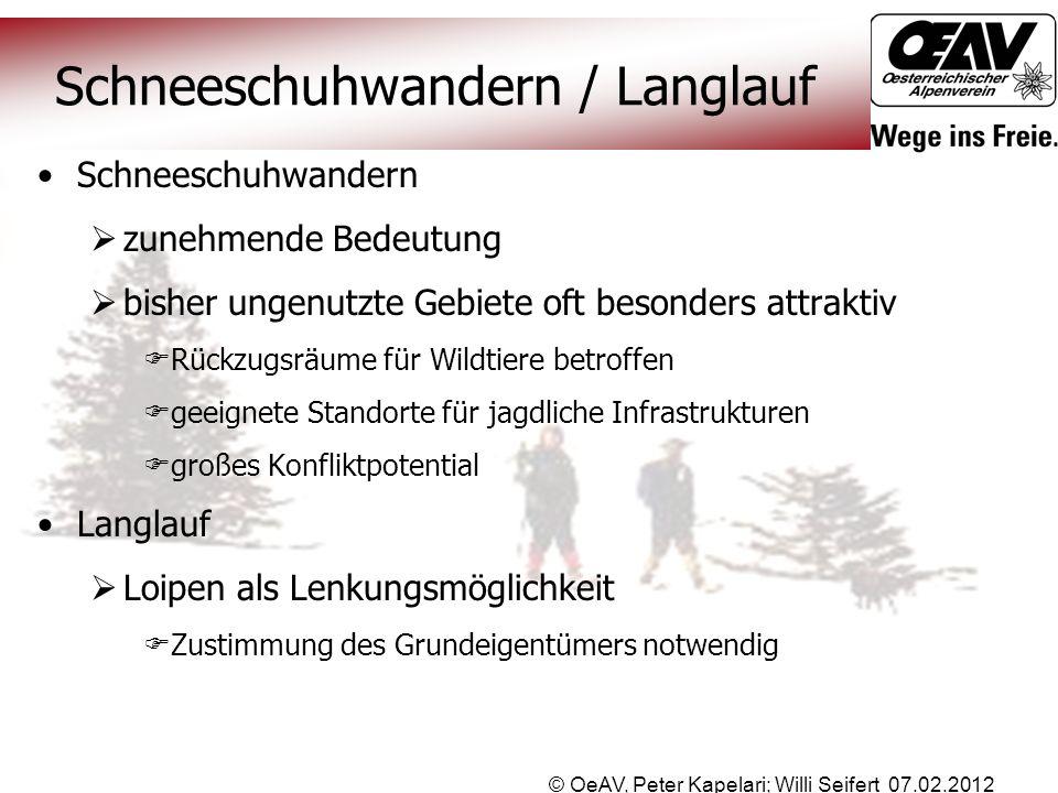 © OeAV, Peter Kapelari; Willi Seifert 07.02.2012 Schneeschuhwandern / Langlauf Schneeschuhwandern  zunehmende Bedeutung  bisher ungenutzte Gebiete o