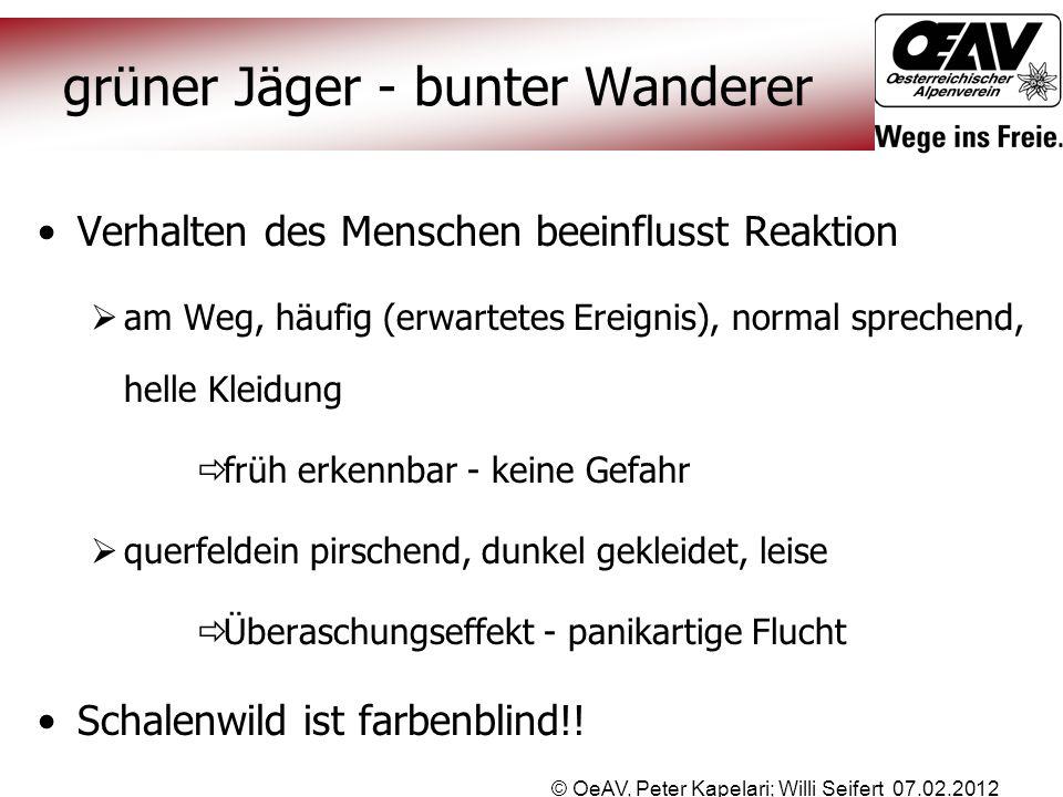 © OeAV, Peter Kapelari; Willi Seifert 07.02.2012 grüner Jäger - bunter Wanderer Verhalten des Menschen beeinflusst Reaktion  am Weg, häufig (erwartet