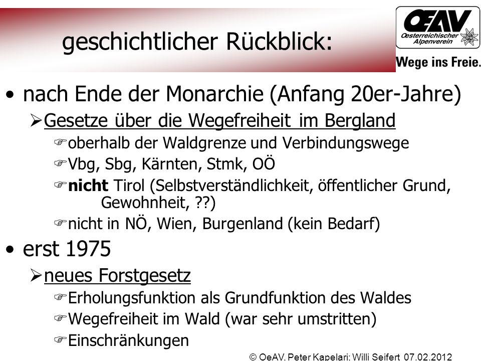 © OeAV, Peter Kapelari; Willi Seifert 07.02.2012 geschichtlicher Rückblick: nach Ende der Monarchie (Anfang 20er-Jahre)  Gesetze über die Wegefreihei