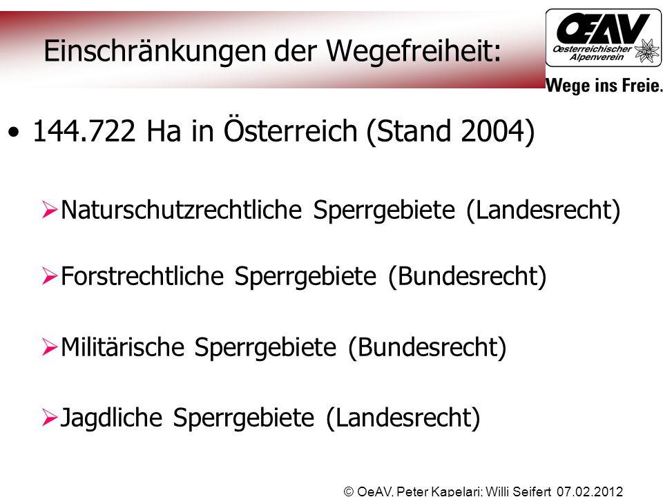 © OeAV, Peter Kapelari; Willi Seifert 07.02.2012 Einschränkungen der Wegefreiheit: 144.722 Ha in Österreich (Stand 2004)  Naturschutzrechtliche Sperr