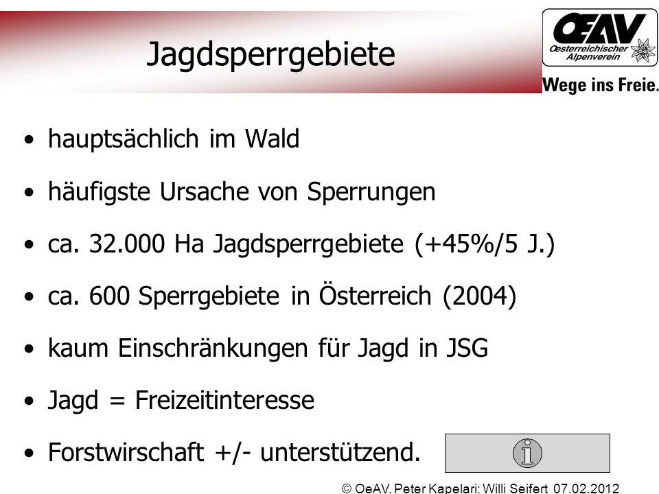 © OeAV, Peter Kapelari; Willi Seifert 07.02.2012 Jagdsperrgebiete hauptsächlich im Wald häufigste Ursache von Sperrungen ca. 32.000 Ha Jagdsperrgebiet
