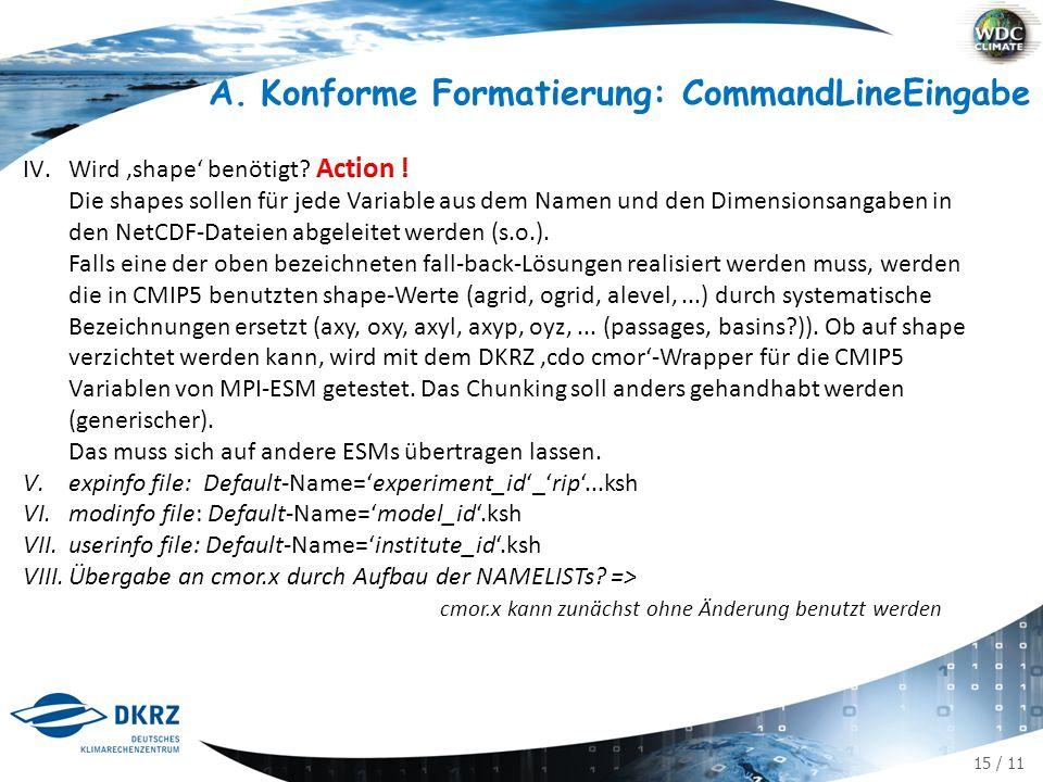 "16 / 11 A.Konforme Formatierung Verteilung der Parameter (bisher 2 NAMELISTs) auf dann 4: user info file : ufile institute_id contact command-line Eingabe [varList: variable names] tab: MIP table name realm shape [chunk] [ufile] [mfile] [efile] ifile &CMORCTRL INPUT_FILE=${input_file} CHUNK = ${chunk:- } TABLE_ID = ${table_id} REALM = ${realm} REC_NUM = ${RecDay} OUT_FLAG = ${outflag:- replace } SHAPE = ${shape} ANZVARS = 1 var =tas unit =""K efile = amip_r1i1p1.ksh ufile = MPI-M.ksh mfile = MPI-ESM-LR.ksh / &CMORCONST INPUT_DIR = ${input_dir} TABS_DIR = ${tabs_dir} GRIDS_DIR = ${grids_dir} ARCH_DIR = ${arch_dir} PROJECT_ID = ${project_id} MODEL_ID = ${model_id} INSTITUTE_ID = ${institute_id} SOURCE = ${source} CONTACT = ${contact} CALENDAR = ${calendar} PRODUCT =""${product} EXPERIMENT_ID = ${exeriment_id} REALIZATION = ${realization:-1} INITIALISATION_METHOD = ${initialisation_method:-1} PHYSICS_VERSION = ${physics_version:-1} FORCING = ${forcing:- N/A } [HISTORY = ${history:- } ] [COMMENT = ${comment:- } ] [REFERENCES = ${references:- } ] BASEYEAR = ${baseyear:- 0000 } PARENT_EXPERIMENT_ID = ${parent_experiment_id} PARENT_MEMBER_RIP = ${parent_member_rip} BRANCH_TIME = ${branch_time} ZOSCONST = ${zosga},${zossga} / experiment info file:mfile model_id [references]² calendar source product experiment info file: efile branch_time baseyear experiment_id forcing parent_experiment_id parent_experiment_rip initialisation_method physics_version realization [ comment history] input/tabs/grids/arch_dir [project_id] 3 []: optional, d.h."