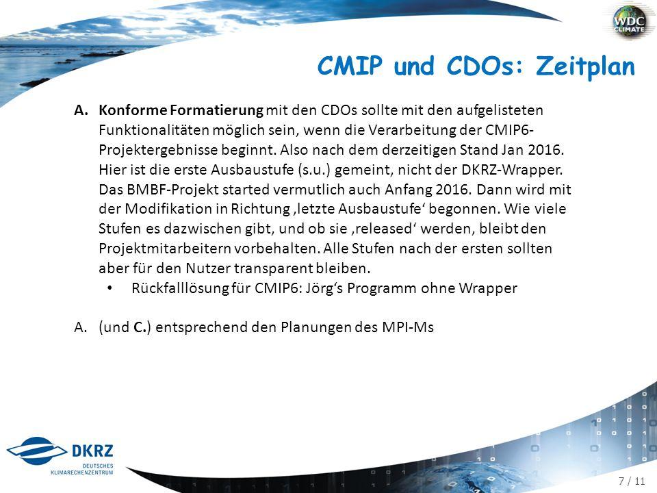 7 / 11 CMIP und CDOs: Zeitplan A.Konforme Formatierung mit den CDOs sollte mit den aufgelisteten Funktionalitäten möglich sein, wenn die Verarbeitung der CMIP6- Projektergebnisse beginnt.