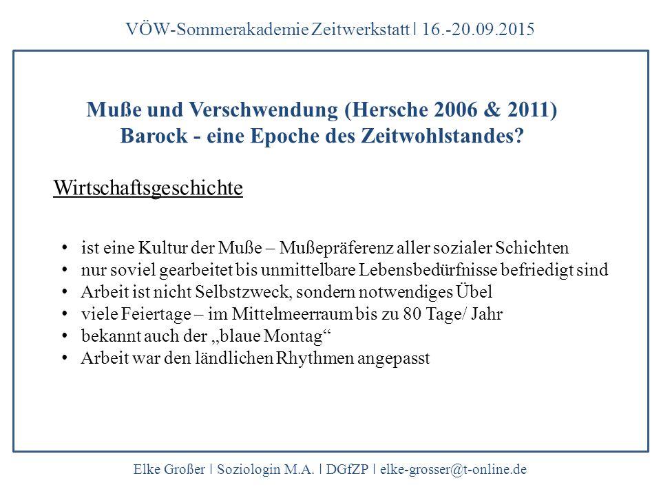 Wirtschaftsgeschichte VÖW-Sommerakademie Zeitwerkstatt ǀ 16.-20.09.2015 Elke Großer ǀ Soziologin M.A.