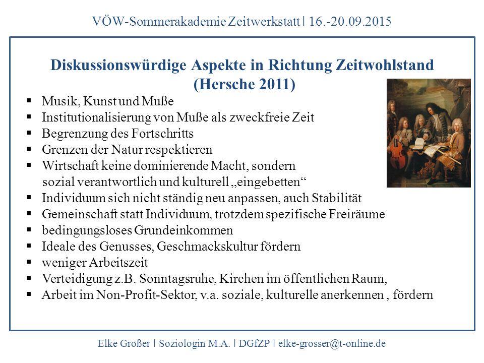 VÖW-Sommerakademie Zeitwerkstatt ǀ 16.-20.09.2015 Elke Großer ǀ Soziologin M.A. ǀ DGfZP ǀ elke-grosser@t-online.de Diskussionswürdige Aspekte in Richt