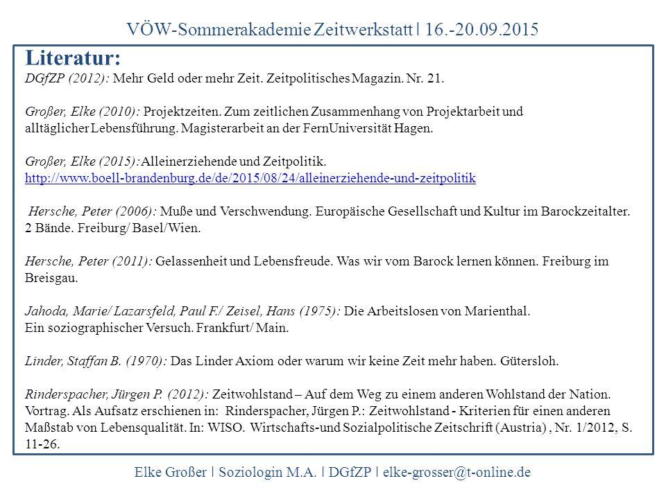 VÖW-Sommerakademie Zeitwerkstatt ǀ 16.-20.09.2015 Elke Großer ǀ Soziologin M.A. ǀ DGfZP ǀ elke-grosser@t-online.de Literatur: DGfZP (2012): Mehr Geld