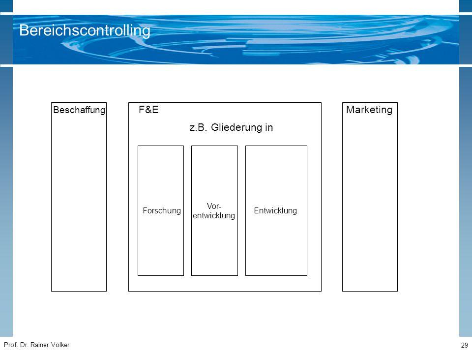 Prof. Dr. Rainer Völker 29 MarketingF&E z.B. Gliederung in Forschung Vor- entwicklung Entwicklung Bereichscontrolling Beschaffung