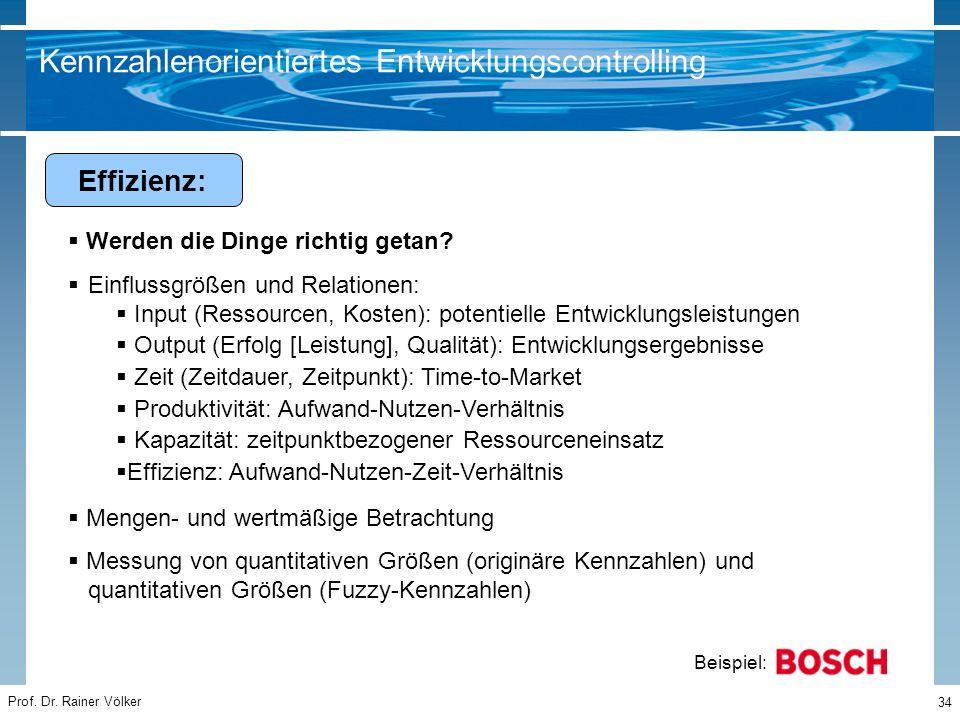 Prof. Dr. Rainer Völker 34  Werden die Dinge richtig getan?  Einflussgrößen und Relationen:  Input (Ressourcen, Kosten): potentielle Entwicklungsle