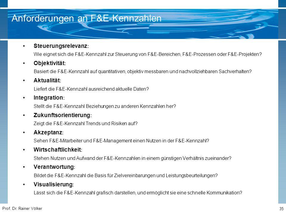 Prof. Dr. Rainer Völker 35 Steuerungsrelevanz : Wie eignet sich die F&E-Kennzahl zur Steuerung von F&E-Bereichen, F&E-Prozessen oder F&E-Projekten? Ob