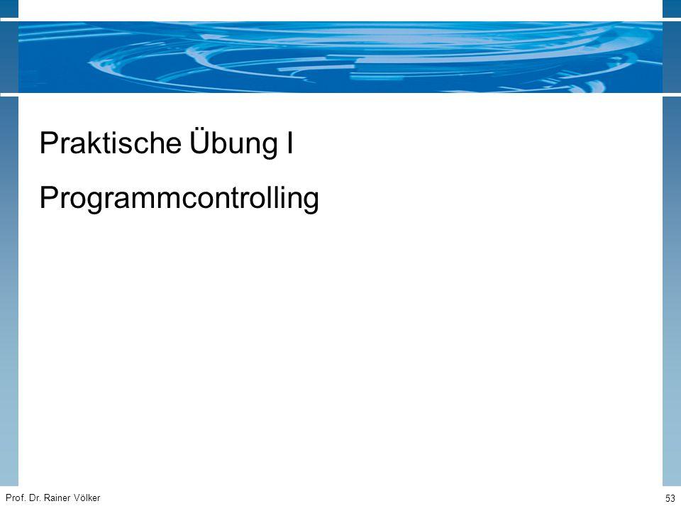 Prof. Dr. Rainer Völker 53 Praktische Übung I Programmcontrolling