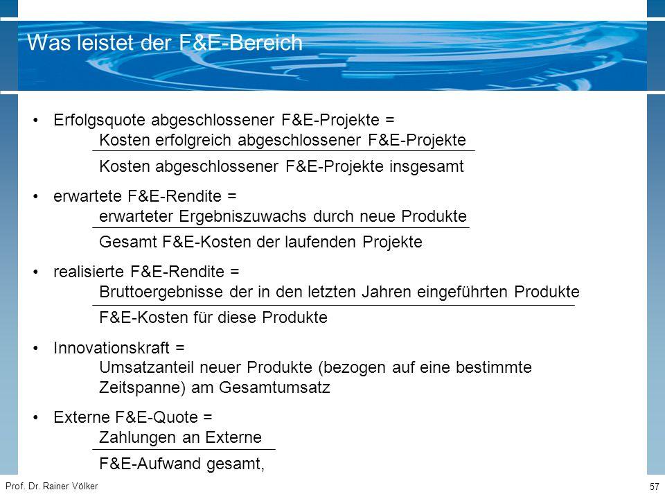 Prof. Dr. Rainer Völker 57 Erfolgsquote abgeschlossener F&E-Projekte = Kosten erfolgreich abgeschlossener F&E-Projekte Kosten abgeschlossener F&E-Proj