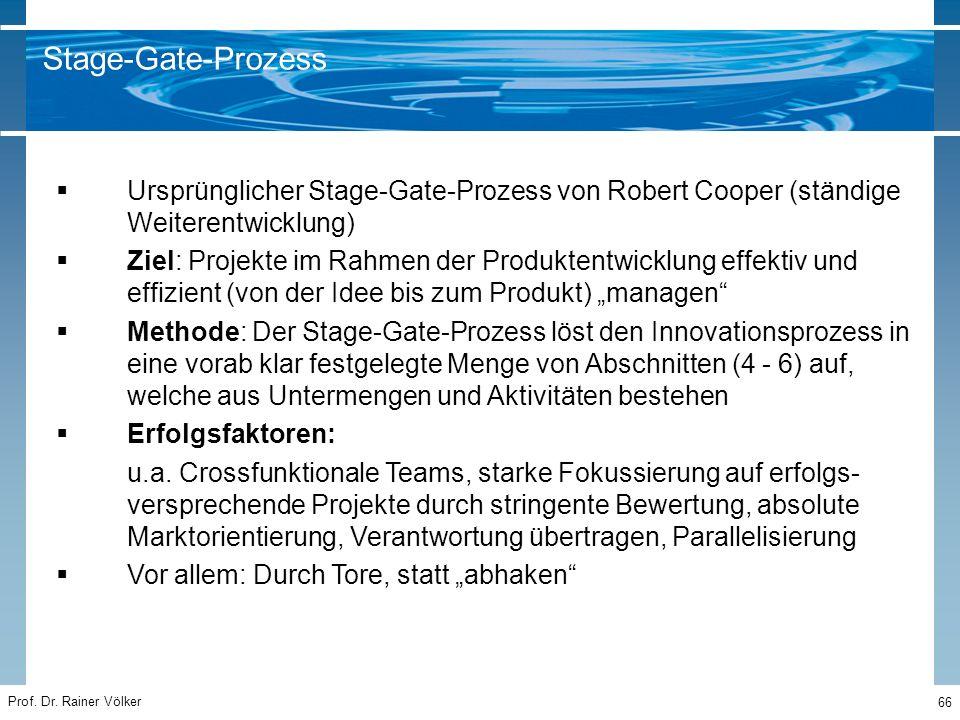 Prof. Dr. Rainer Völker 66  Ursprünglicher Stage-Gate-Prozess von Robert Cooper (ständige Weiterentwicklung)  Ziel: Projekte im Rahmen der Produkten