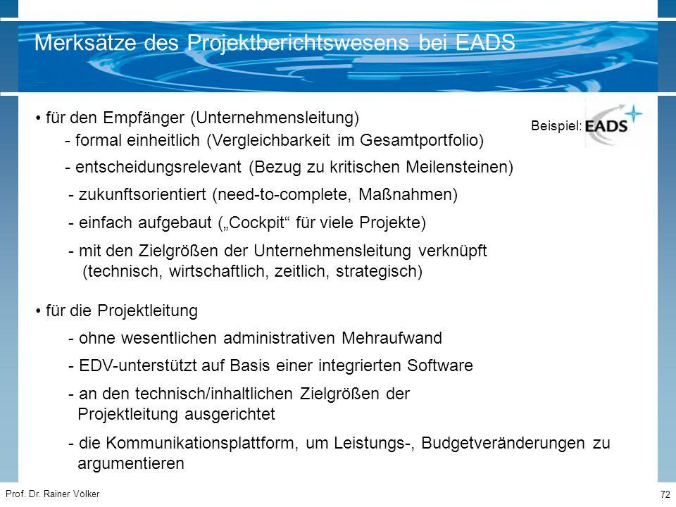 Prof. Dr. Rainer Völker 72 für den Empfänger (Unternehmensleitung) - formal einheitlich (Vergleichbarkeit im Gesamtportfolio) - entscheidungsrelevant