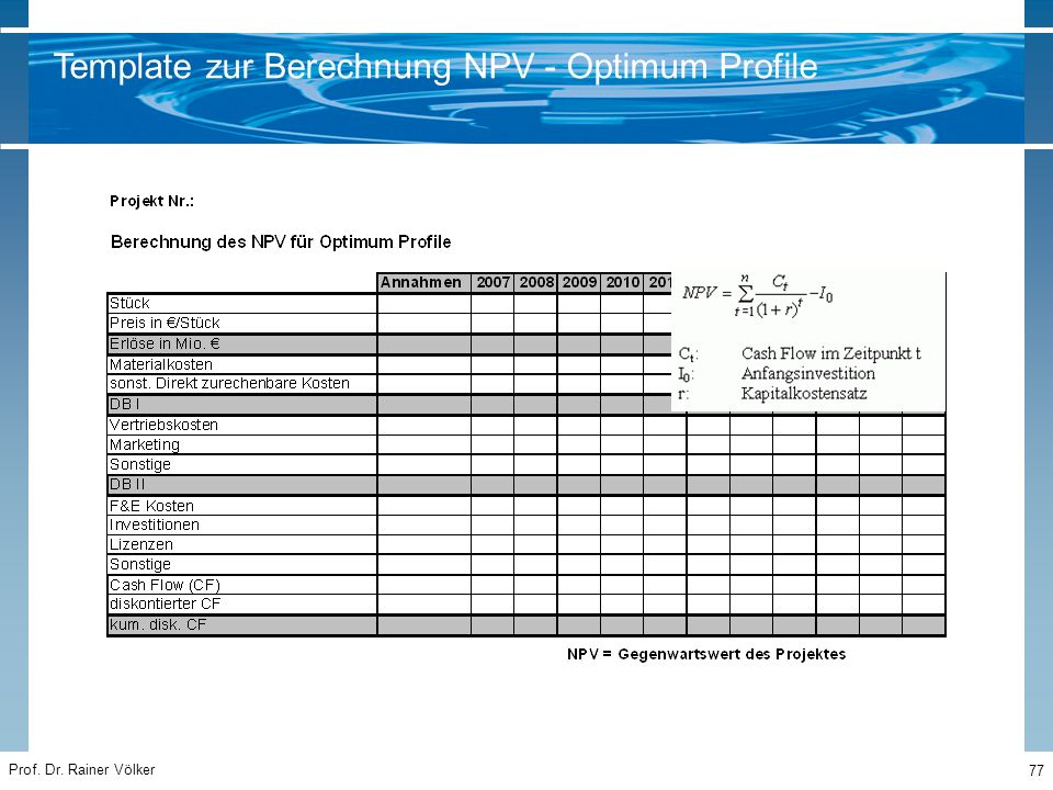 Prof. Dr. Rainer Völker 77 Template zur Berechnung NPV - Optimum Profile